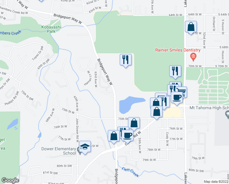 map of restaurants, bars, coffee shops, grocery stores, and more near Bridgeport Way W & Meadow Park Rd W in Lakewood
