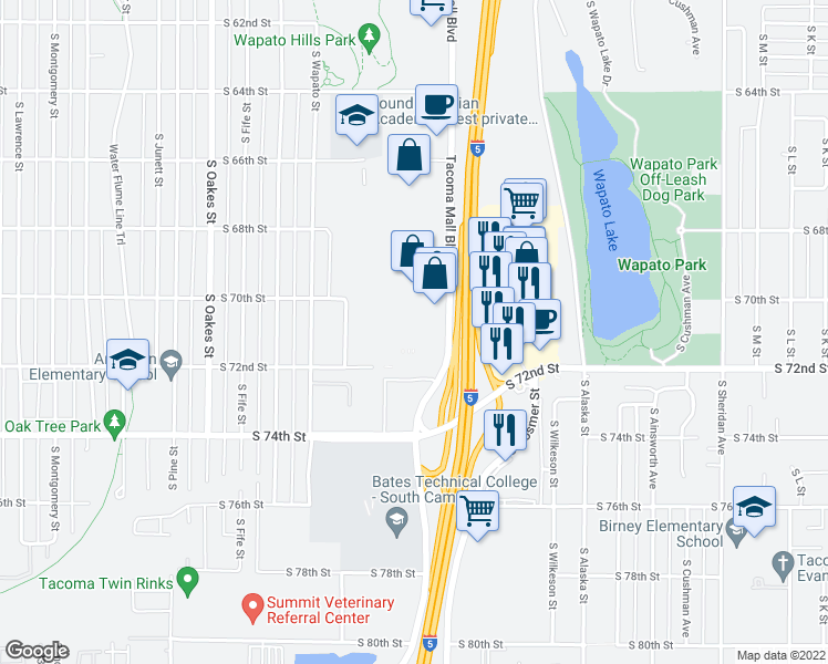 map of restaurants, bars, coffee shops, grocery stores, and more near 12 in Tacoma