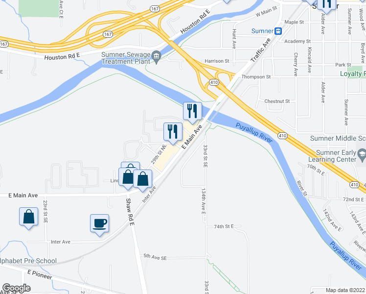 map of restaurants, bars, coffee shops, grocery stores, and more near 3200-3298 East Main Avenue in Puyallup
