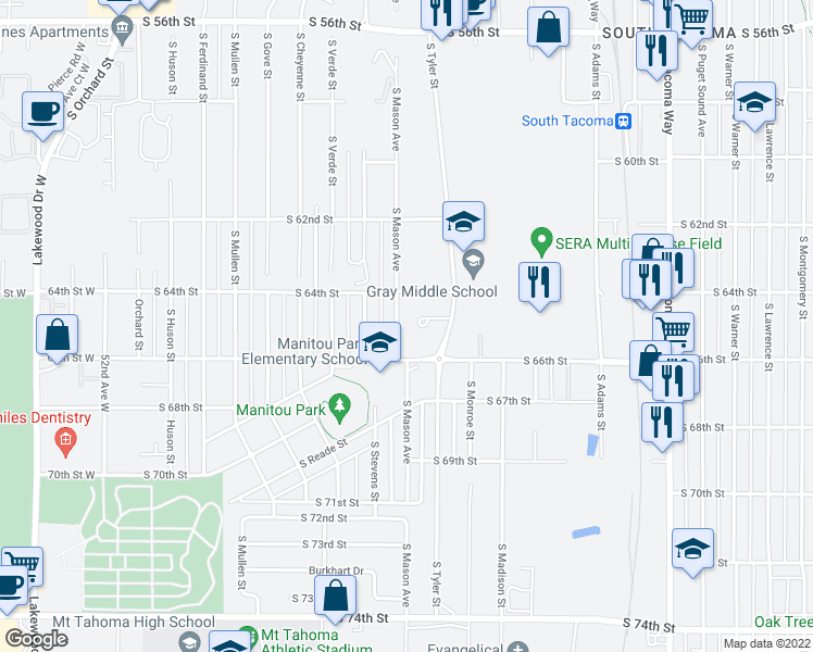 map of restaurants, bars, coffee shops, grocery stores, and more near 6408 South Mason Avenue in Tacoma