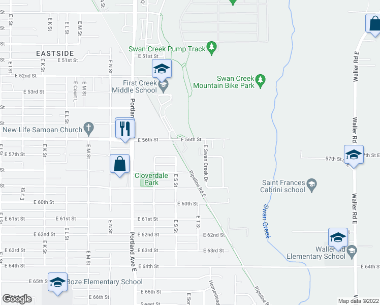 map of restaurants, bars, coffee shops, grocery stores, and more near Pipeline Road East in Tacoma