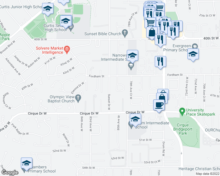 map of restaurants, bars, coffee shops, grocery stores, and more near 4514-4516 Sunset Dr W in University Pl