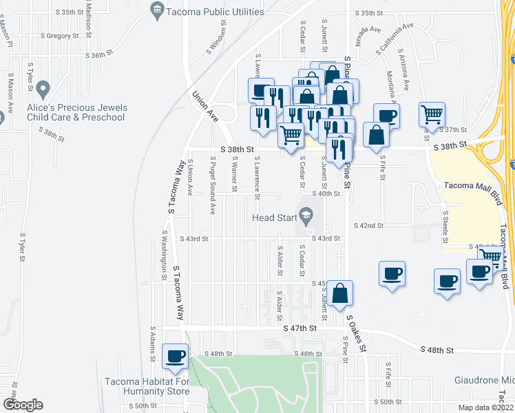map of restaurants, bars, coffee shops, grocery stores, and more near 4010 South Lawrence Street in Tacoma