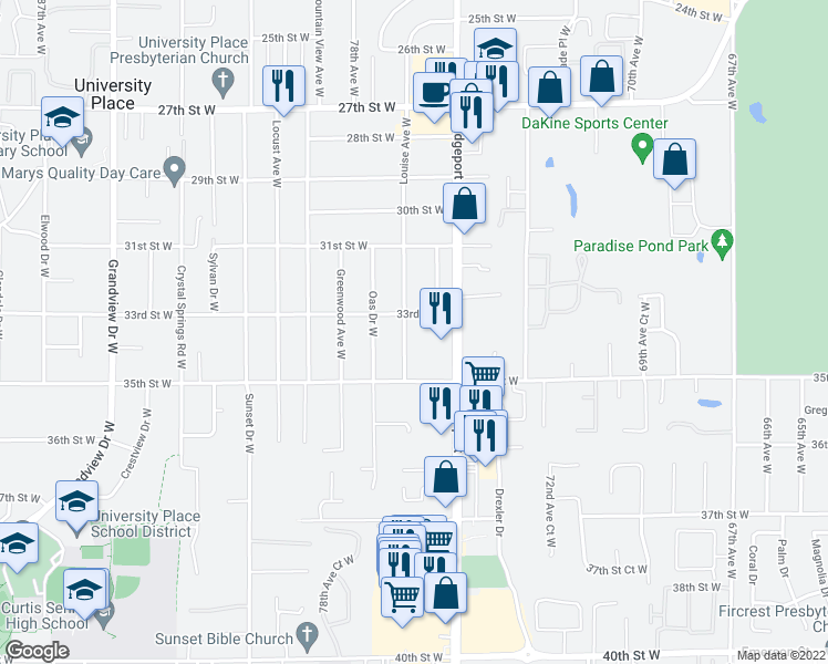 map of restaurants, bars, coffee shops, grocery stores, and more near 3332-3336 Bridgeport Way W in University Pl