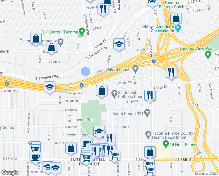 map of restaurants, bars, coffee shops, grocery stores, and more near 613 South Wright Avenue in Tacoma