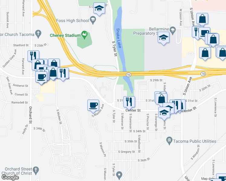 map of restaurants, bars, coffee shops, grocery stores, and more near 3001 S Tyler St in Tacoma