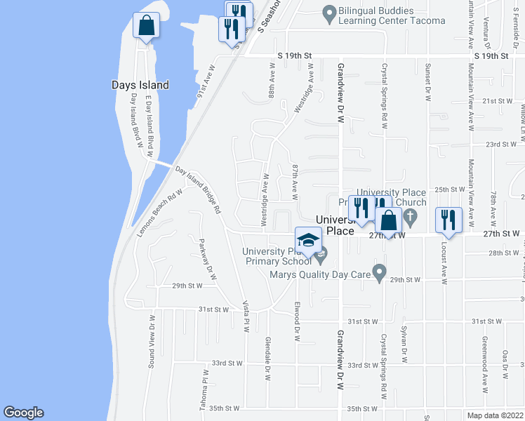 map of restaurants, bars, coffee shops, grocery stores, and more near 2533-2667 Westridge Avenue West in Tacoma