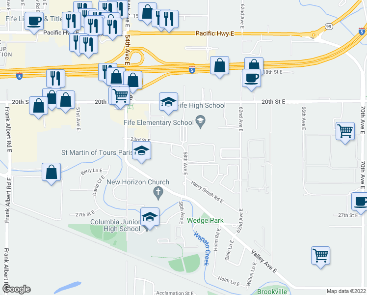 map of restaurants, bars, coffee shops, grocery stores, and more near 5537-5799 23rd St E in Fife
