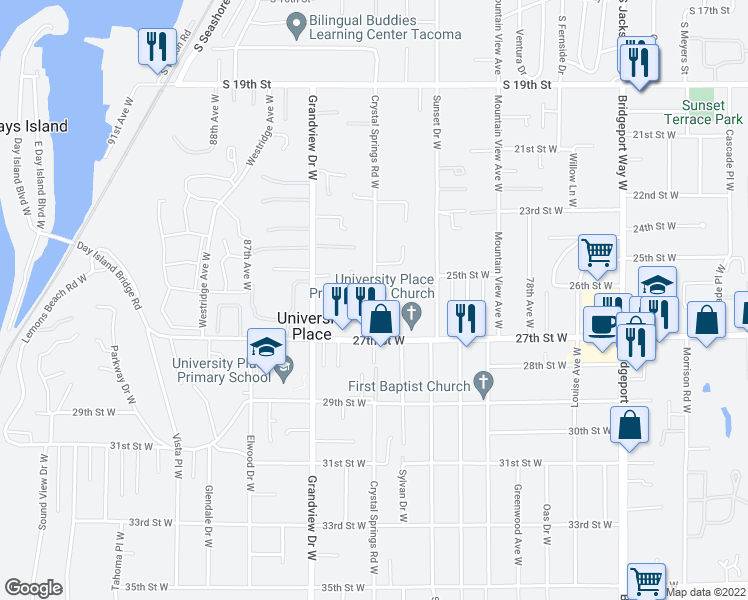 map of restaurants, bars, coffee shops, grocery stores, and more near 8101 27th St W in University Place