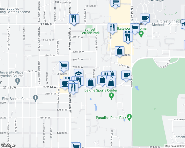map of restaurants, bars, coffee shops, grocery stores, and more near 2618 Cascade Place West in University Place