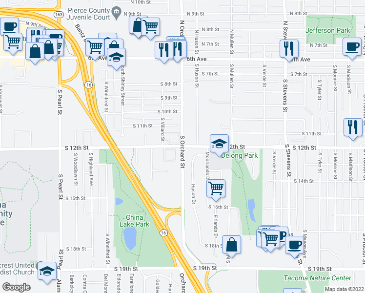 map of restaurants, bars, coffee shops, grocery stores, and more near S 12th St & S Orchard St in Tacoma