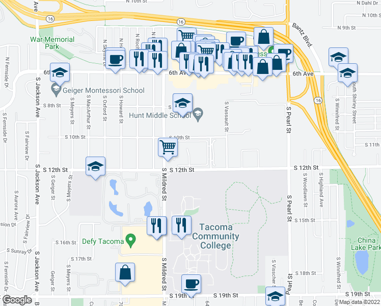 map of restaurants, bars, coffee shops, grocery stores, and more near 6400-6604 S 10th St in Tacoma