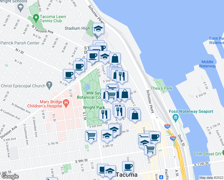 map of restaurants, bars, coffee shops, grocery stores, and more near 108 Tacoma Ave S in Tacoma