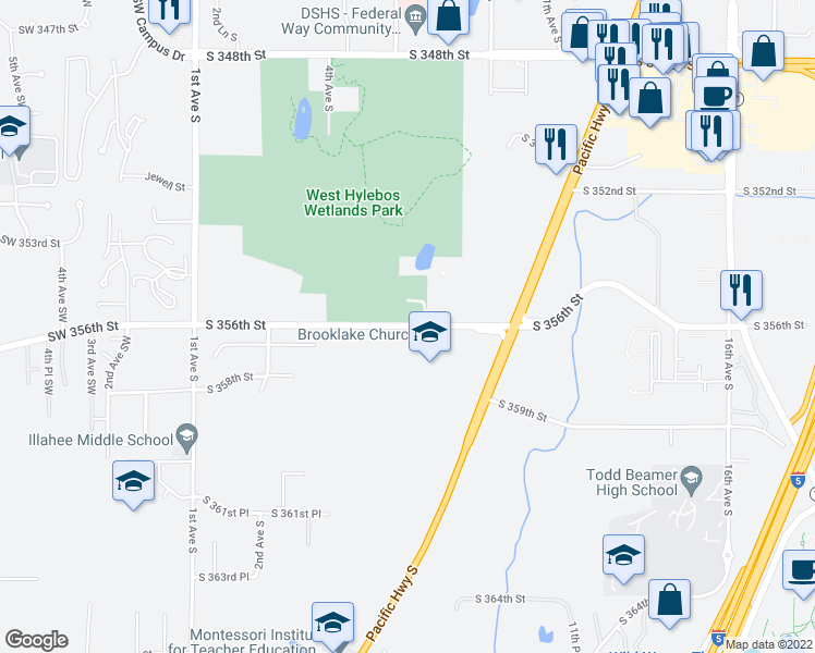 map of restaurants, bars, coffee shops, grocery stores, and more near 514-546 Southwest 356th Street in Federal Way