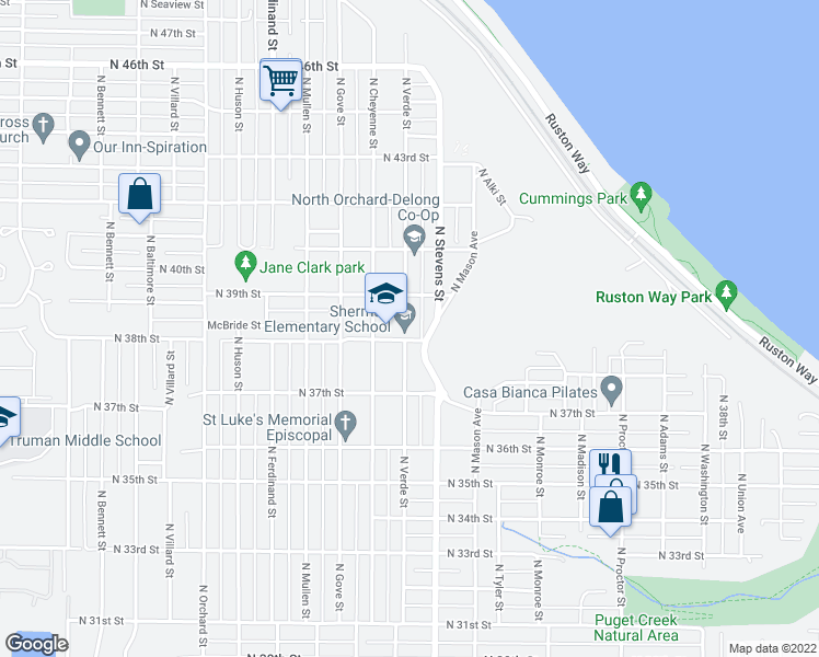 map of restaurants, bars, coffee shops, grocery stores, and more near 3726 N Verde St in Tacoma