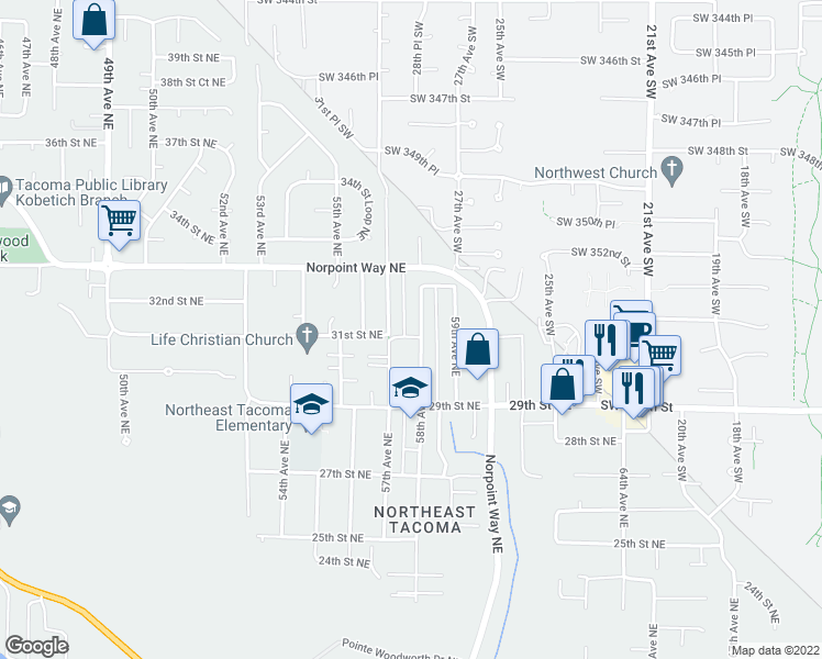 map of restaurants, bars, coffee shops, grocery stores, and more near 3102 58th Avenue Northeast in Tacoma