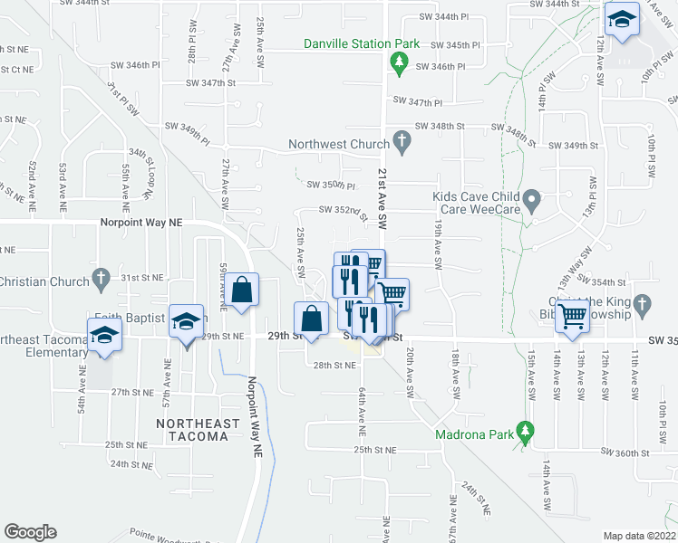 map of restaurants, bars, coffee shops, grocery stores, and more near 35405 23rd Avenue Southwest in Federal Way
