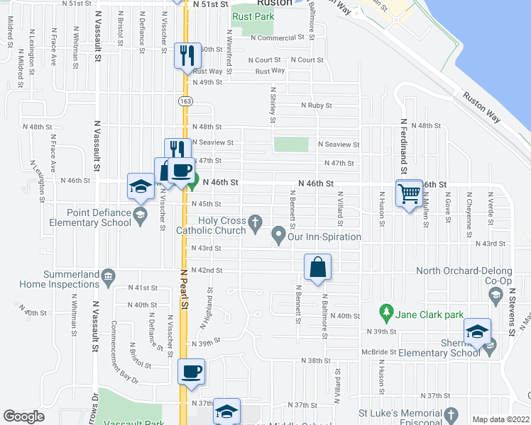 map of restaurants, bars, coffee shops, grocery stores, and more near 5501-5599 North 44th Street in Tacoma