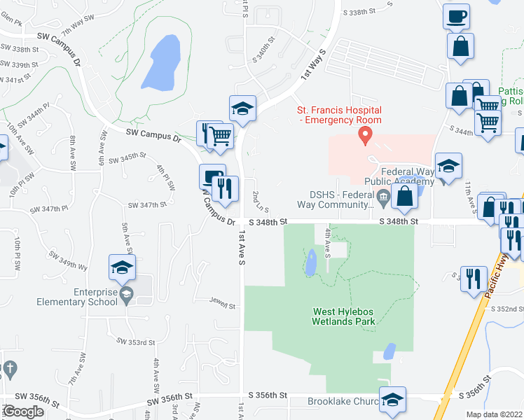 map of restaurants, bars, coffee shops, grocery stores, and more near 34716 1st Avenue South in Federal Way