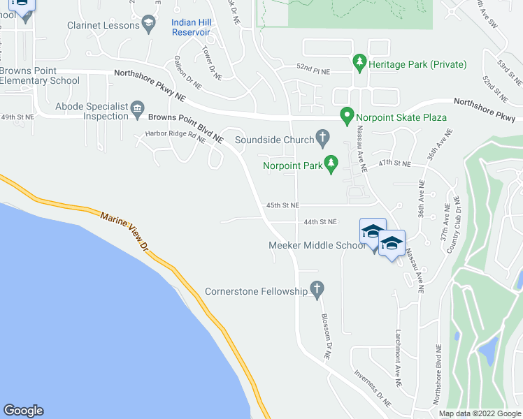 map of restaurants, bars, coffee shops, grocery stores, and more near 3724 Browns Point Boulevard in Tacoma