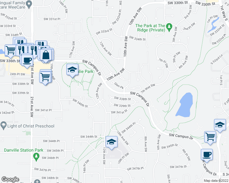map of restaurants, bars, coffee shops, grocery stores, and more near 920-1198 SW Campus Dr in Federal Way