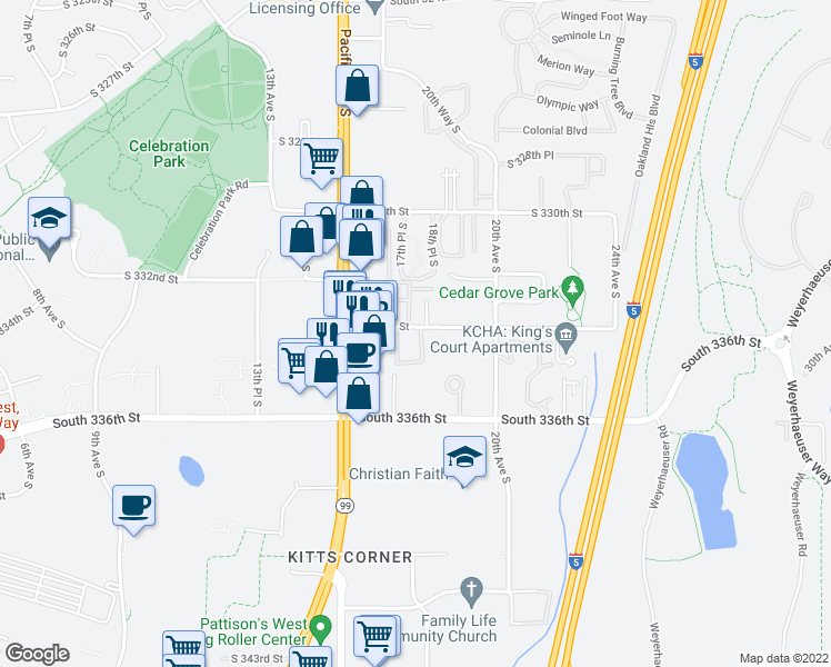 map of restaurants, bars, coffee shops, grocery stores, and more near 33311 18th Lane South in Federal Way