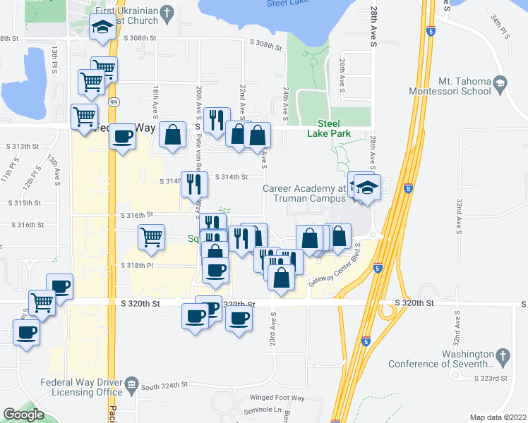 map of restaurants, bars, coffee shops, grocery stores, and more near 31580 23rd Avenue South in Federal Way