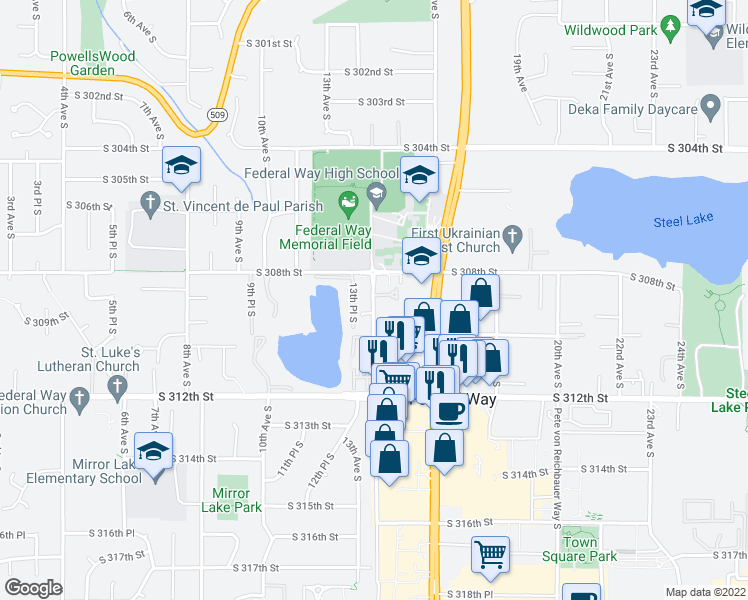 map of restaurants, bars, coffee shops, grocery stores, and more near 31003-31145 14th Ave S in Federal Way