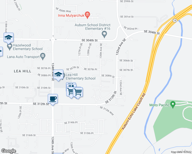 map of restaurants, bars, coffee shops, grocery stores, and more near 30833 130th Avenue Southeast in Auburn