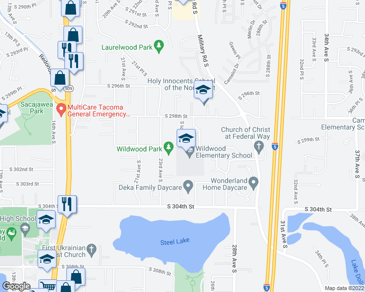 map of restaurants, bars, coffee shops, grocery stores, and more near 29835 24th Place South in Federal Way