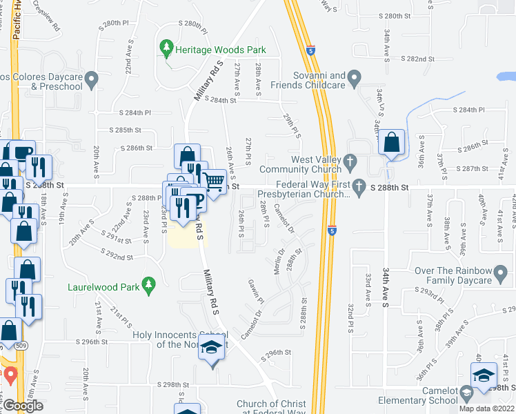 map of restaurants, bars, coffee shops, grocery stores, and more near 28825 28th Pl S in Federal Way