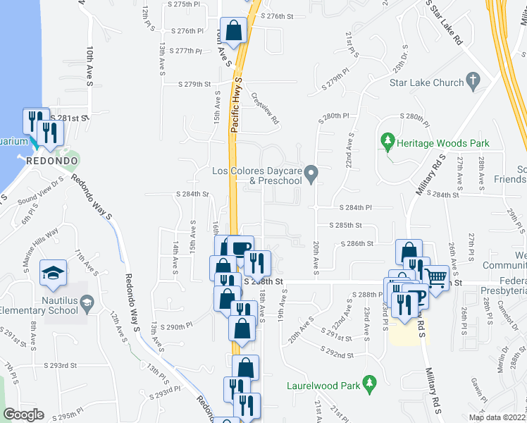 map of restaurants, bars, coffee shops, grocery stores, and more near 1820 S 285th Pl in Federal Way