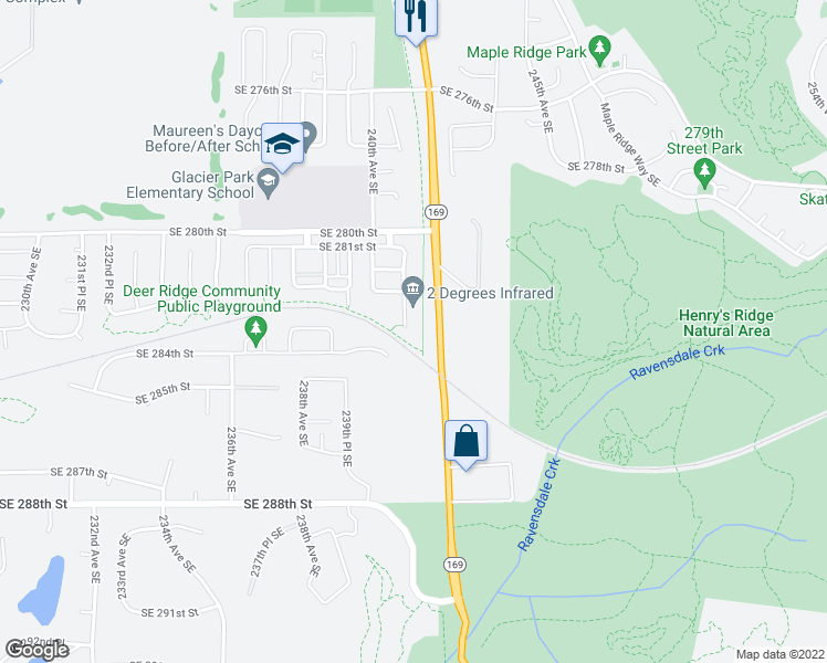 map of restaurants, bars, coffee shops, grocery stores, and more near 23944 SE 284th St in Maple Valley