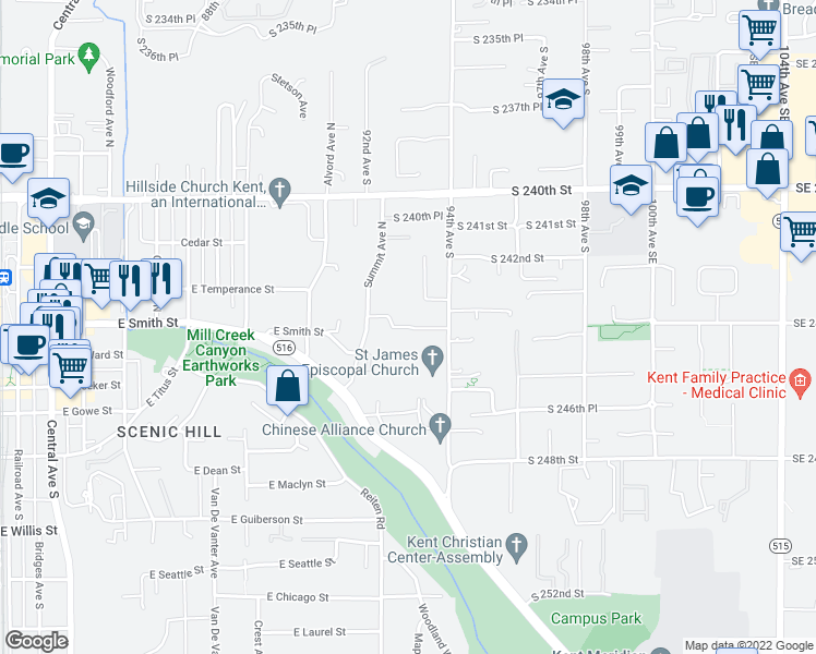 map of restaurants, bars, coffee shops, grocery stores, and more near S 244th St in Kent