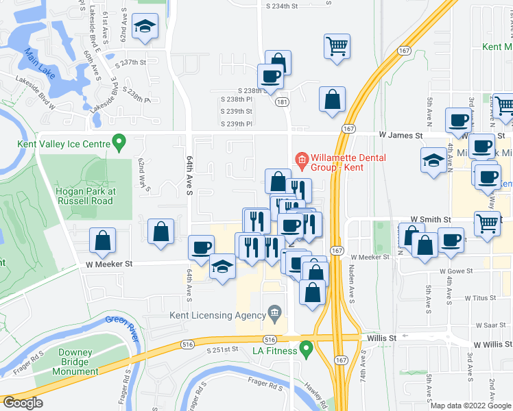 map of restaurants, bars, coffee shops, grocery stores, and more near 301-399 Ridgeview Drive in Kent