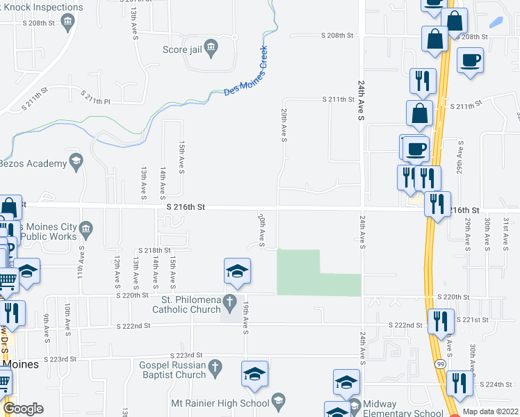 map of restaurants, bars, coffee shops, grocery stores, and more near 20th Ave S in Des Moines