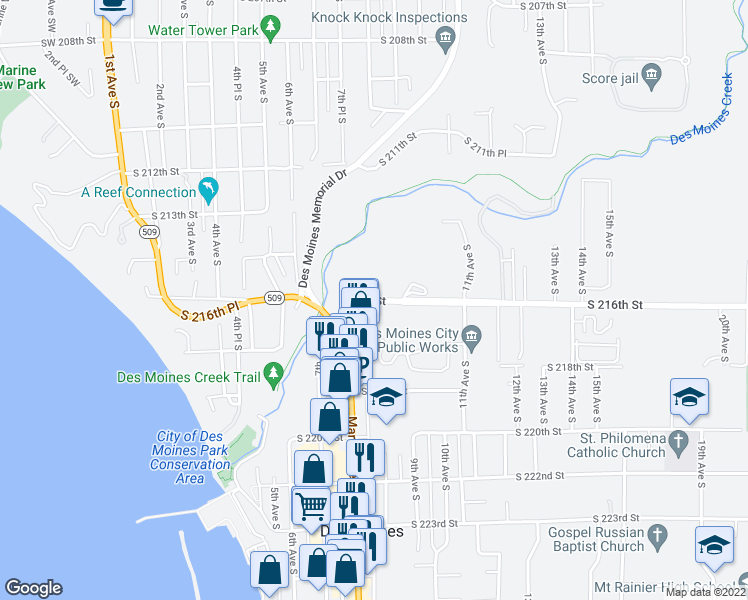 map of restaurants, bars, coffee shops, grocery stores, and more near 750 South 216th Street in Seattle