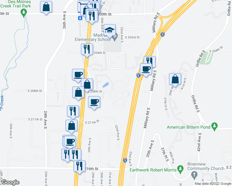 map of restaurants, bars, coffee shops, grocery stores, and more near 3029 South 208th Street in SeaTac