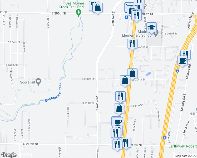 map of restaurants, bars, coffee shops, grocery stores, and more near S 208th St in SeaTac