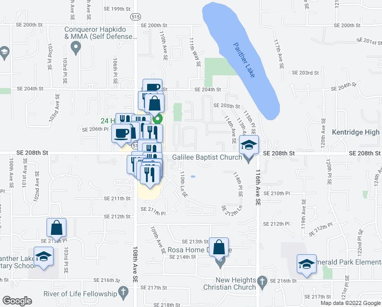 map of restaurants, bars, coffee shops, grocery stores, and more near 11130 SE 208th St in Kent