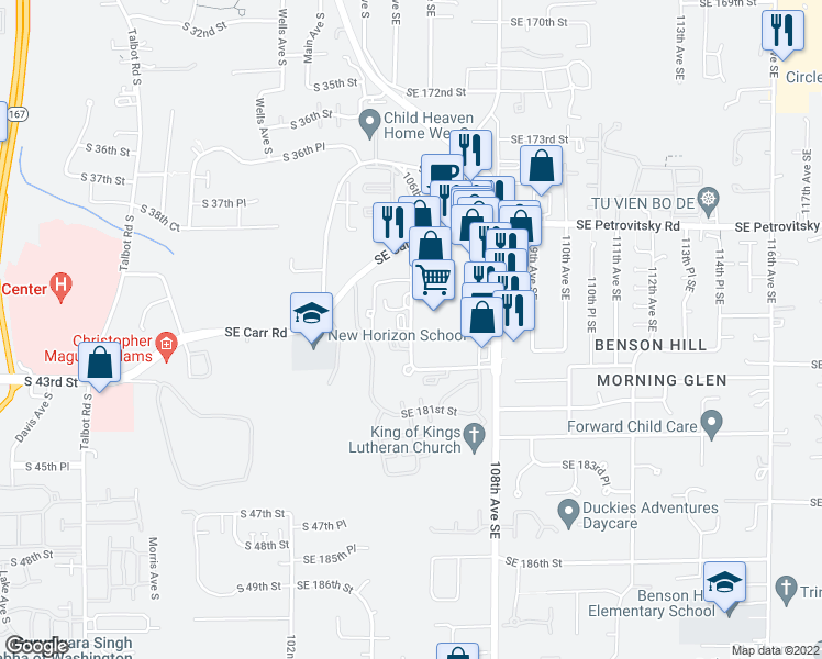 map of restaurants, bars, coffee shops, grocery stores, and more near 105th Pl SE in Renton