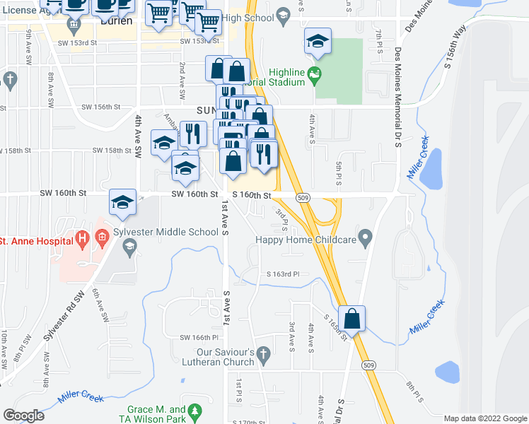 map of restaurants, bars, coffee shops, grocery stores, and more near 153 South 160th Street in Burien