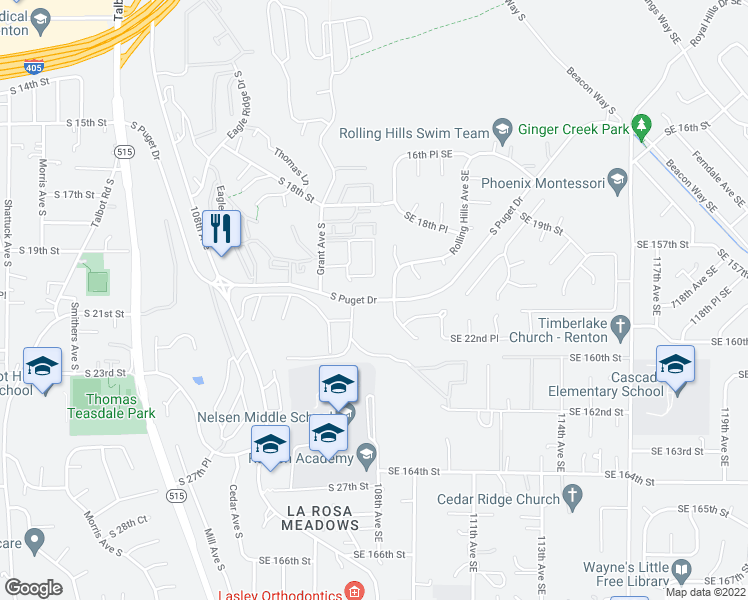 map of restaurants, bars, coffee shops, grocery stores, and more near S Puget Dr in Renton