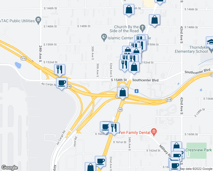 map of restaurants, bars, coffee shops, grocery stores, and more near 4800 S 188th St # 100 in SeaTac