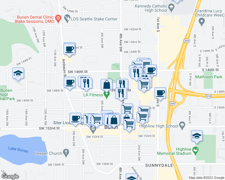map of restaurants, bars, coffee shops, grocery stores, and more near 362-460 SW 148th St in Burien