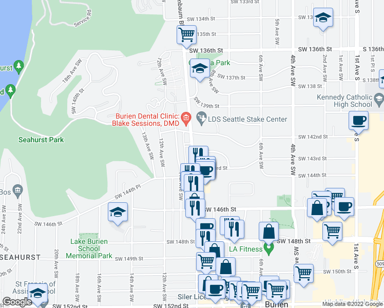 map of restaurants, bars, coffee shops, grocery stores, and more near 14242 Ambaum Boulevard Southwest in Burien