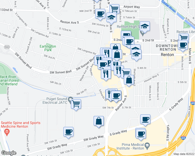 map of restaurants, bars, coffee shops, grocery stores, and more near in Renton