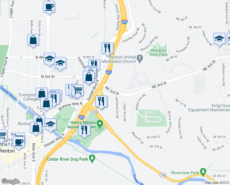 map of restaurants, bars, coffee shops, grocery stores, and more near NE 3rd St & Monterey Dr NE in Renton