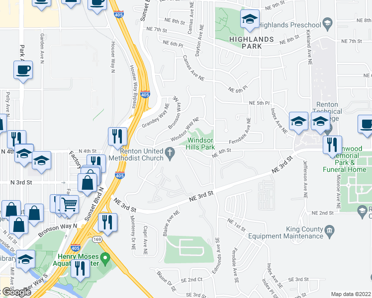 map of restaurants, bars, coffee shops, grocery stores, and more near 2307 Northeast 4th Street in Renton