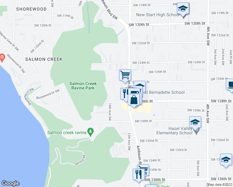 map of restaurants, bars, coffee shops, grocery stores, and more near 12733 13th Ln SW in Seattle